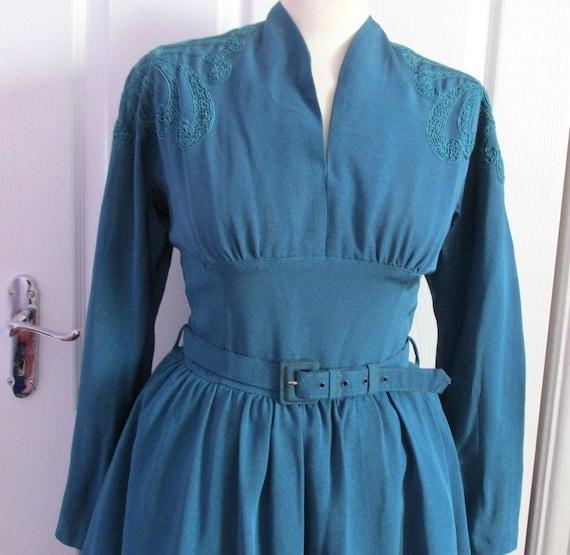 1940s Movie star Antique blue Dress By Carnegie Lo