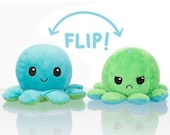 Reversible Octopus Plush - Double Sided Flip Mood Plushie - Cute Adorable Stuffed Toy Gift for Him Her or Kids - Kawaii Mochi