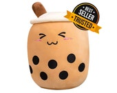 Cute Boba Plush - Large Stuffed Bubble Tea - Kawaii Milk Tea Plushie - Squishmallow Pillow Room Decor - Gift for Him Her or Kids - 25cm