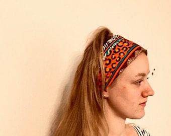 Hairband, headband, African design fabric, bandana style, running / yoga headband