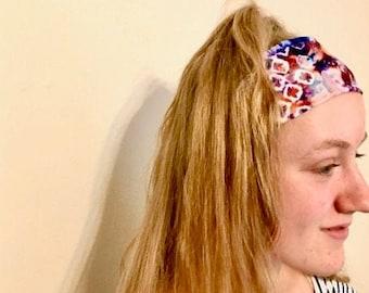 Hairband, headband, Tie-dye design fabric, bandana style, running / yoga headband
