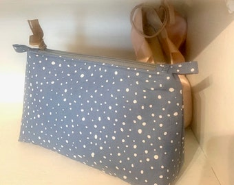 Eleanor collection- organic cotton Pouch, pencil case, cosmetic bag. zipped and lined with a flat base. Beautifully handmade.