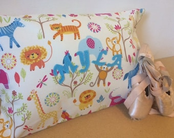Cushion cover, pillow case, personalised in safari animal fabric. Envelope style.