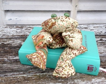 Bean bag frog, hippy browns and greens, soft toy