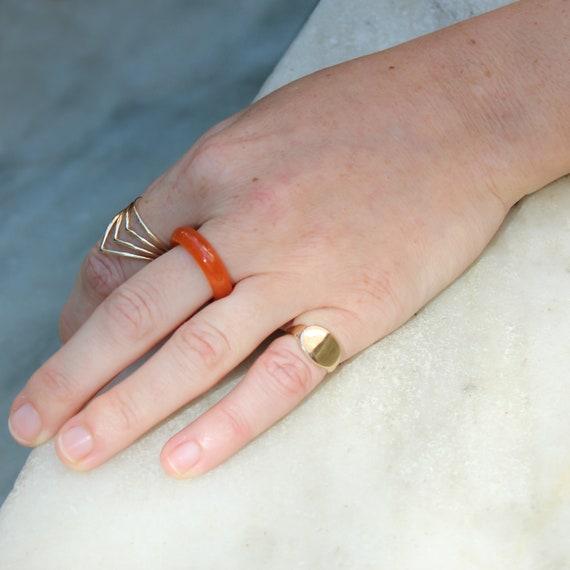 Jadeite Ring Carved Orange Gemstone Ring