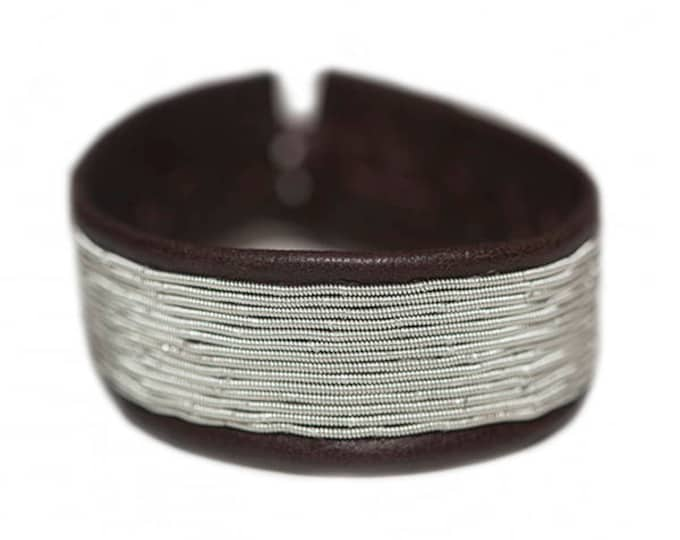 No. 1127 Wide: Sami Bracelet of pewter thread and reindeer leather.
