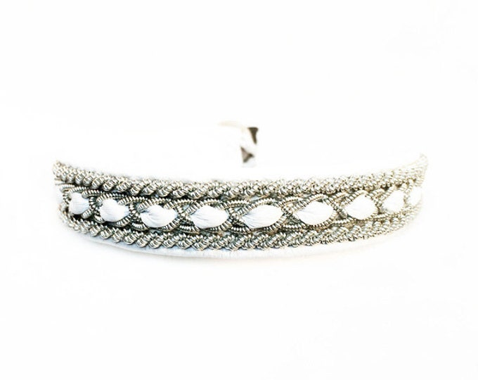 No. 1036: Sami Bracelet of pewter thread and reindeer leather.