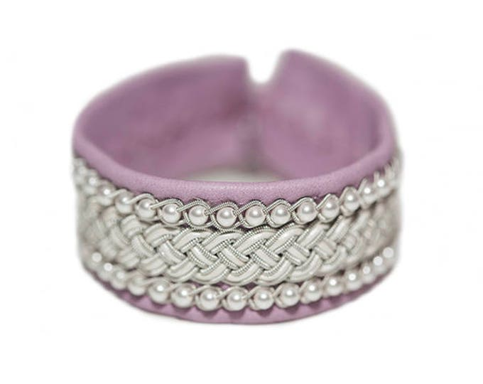 No. 1081 de luxe: Pewter bracelet with Swarovsky beads