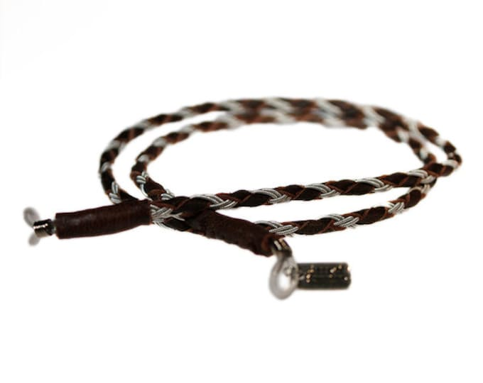 No. 4002: Sami Lanyard for glasses made of pewter thread and reindeer leather