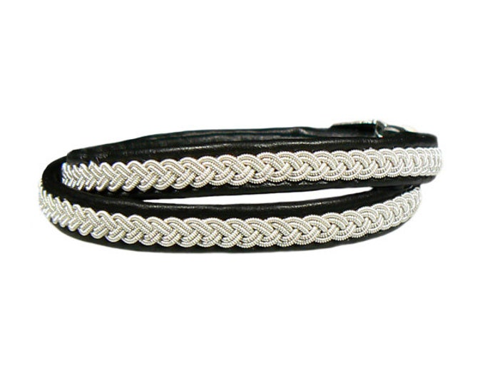 No. 1093: Sami Bracelet of pewter thread and reindeer leather, double wrapped.