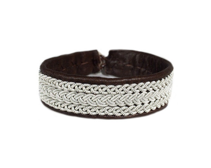 No. 1045: Sami Bracelet of pewter thread and reindeer leather.