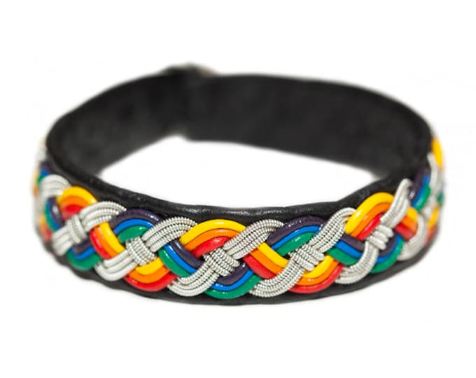 No. 1118 Pride: Sami Bracelet of pewter thread, leather straps and reindeer leather.