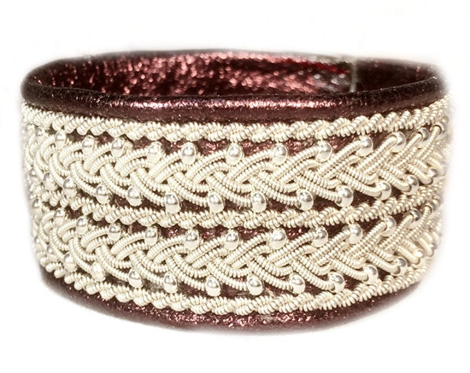 No. 1090: Sami Bracelet of pewter thread, silver metal seed beads, reindeer leather.