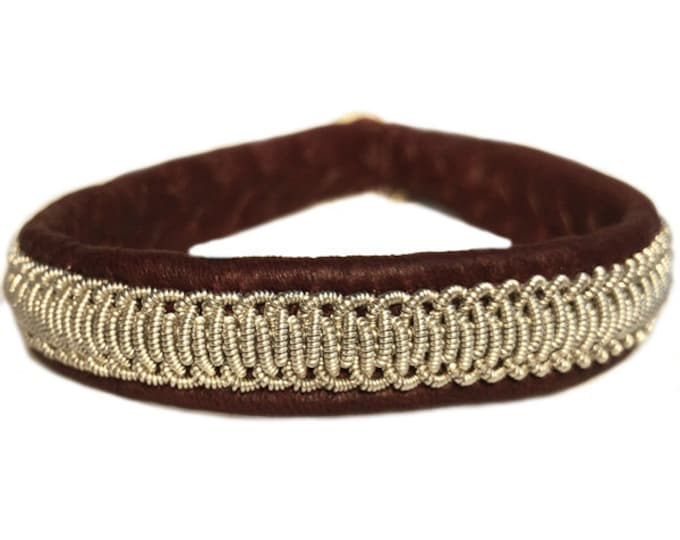 No. 1025: Sami Bracelet of pewter thread and reindeer leather.