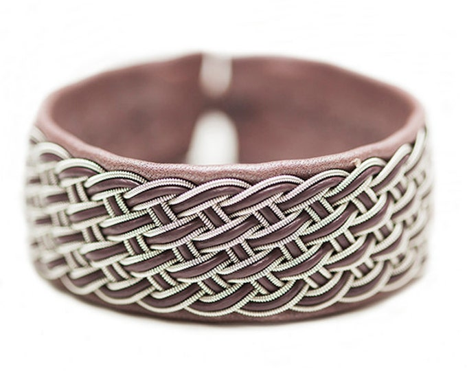 No. 1089: Sami Bracelet of pewter thread and reindeer leather.