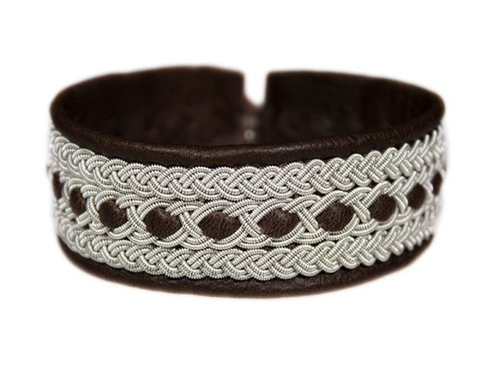 No. 1030: Sami Bracelet of pewter thread and reindeer leather.