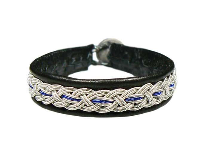No. 1098 Wide: Sami Bracelet of pewter thread and reindeer leather.