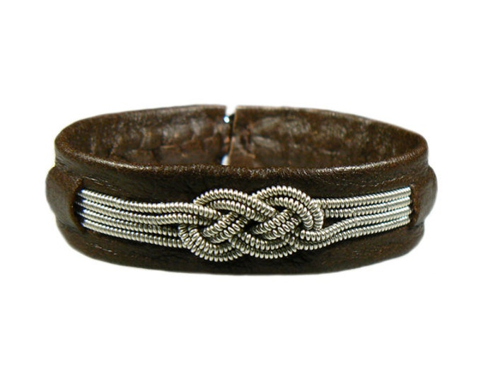 No. 1123: Sami Bracelet of pewter thread and reindeer leather.