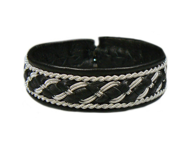 No. 1040: Sami Bracelet of pewter thread and reindeer leather.