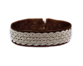 No. 1087: Sami Bracelet of pewter thread and reindeer leather.