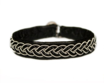 No. 1076: Sami Bracelet of pewter thread and reindeer leather.
