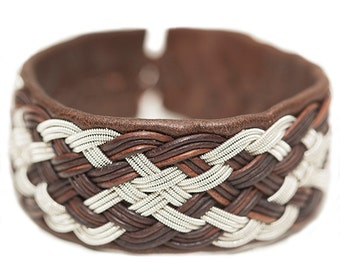 No. 1104: Sami Bracelet of pewter thread and reindeer leather.