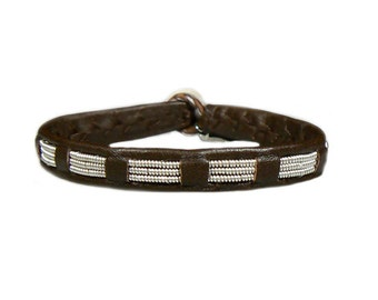 No. 1106: Sami Bracelet of pewter thread and reindeer leather.
