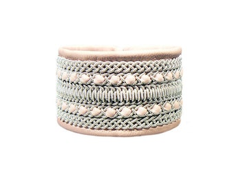 No. 1055: Sami Bracelet of pewter thread and reindeer leather.