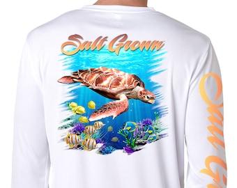 Salt Grown Saltwater fishing t shirt beach deep sea trolling Sailfish 50//50