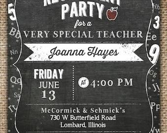 Retirement Party Invitation : Teacher & Chalkboard Theme