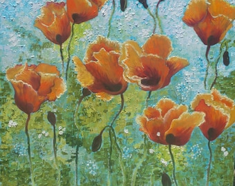Large Colorful  Painting Oil Art .Red, orange and blue Colors Titled:Poppies. Original Large Oil Painting .