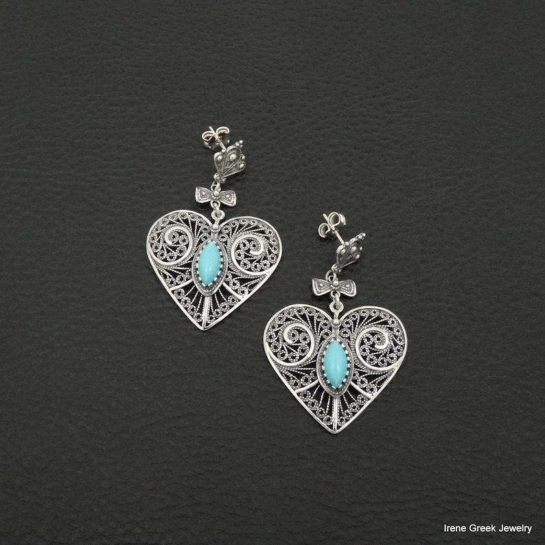 Turquoise Earrings Heart Filigree Style 925 Sterling Silver Greek Handmade Art Big Rare