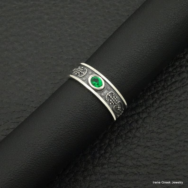 Natural Emerald Ring Byzantine Style 925 Sterling Silver Greek Handmade Art Luxury