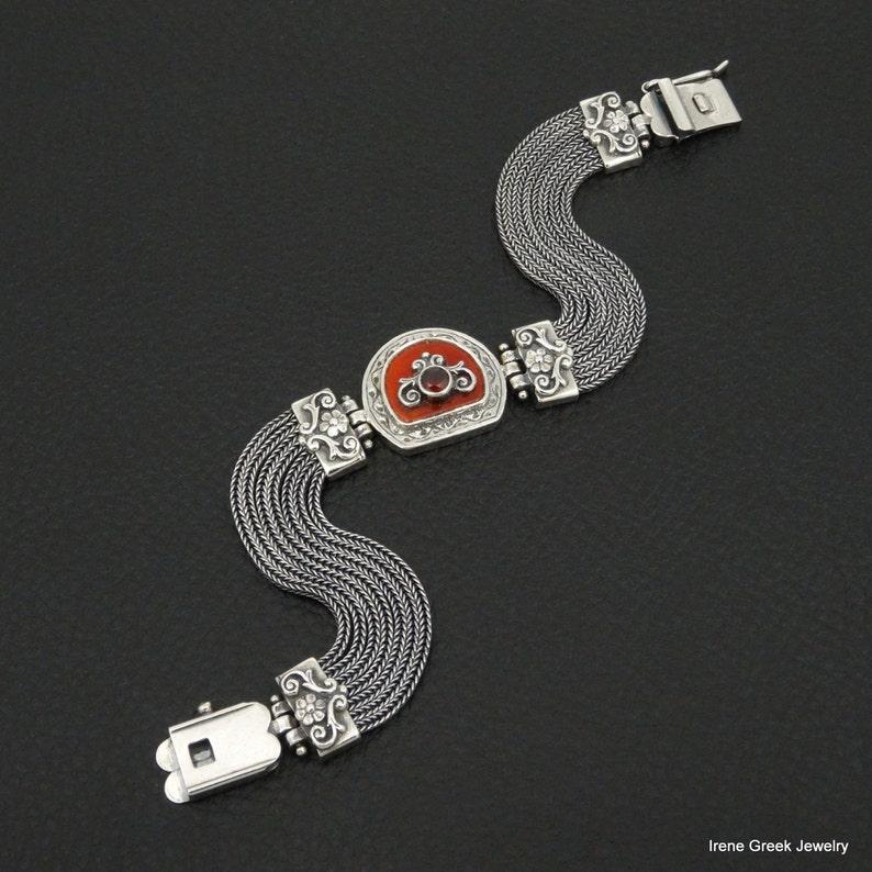 Natural Carnelian /& Garnet Bracelet Byzantine Style 925 Sterling Silver Greek Greek Handmade Art Unique