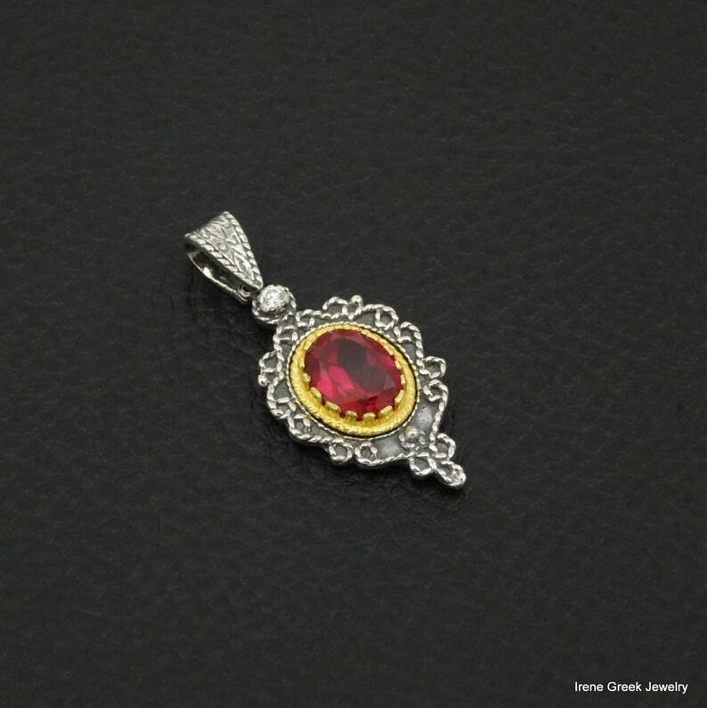 Pink Ruby Cz Pendant Byzantine Style 925 Sterling Silver /& 22K Gold Plated Greek Handmade Art Luxury
