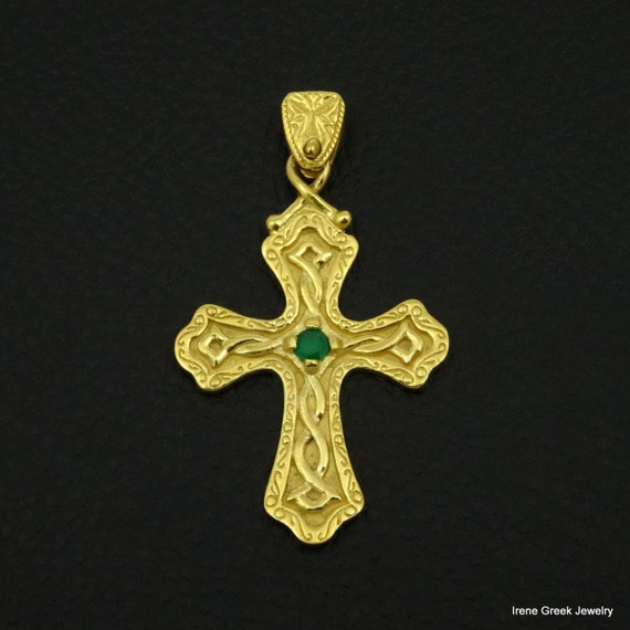 Green Topaz Solid 925 Sterling Silver Hand Made Pendant Jewelry Cross Pendant Gemstone