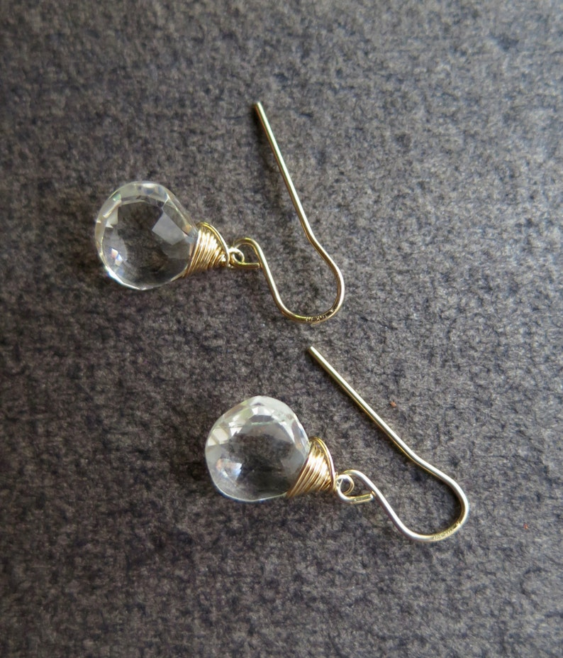 April Birthstone 14 carat gold filled Clear Quartz Earrings