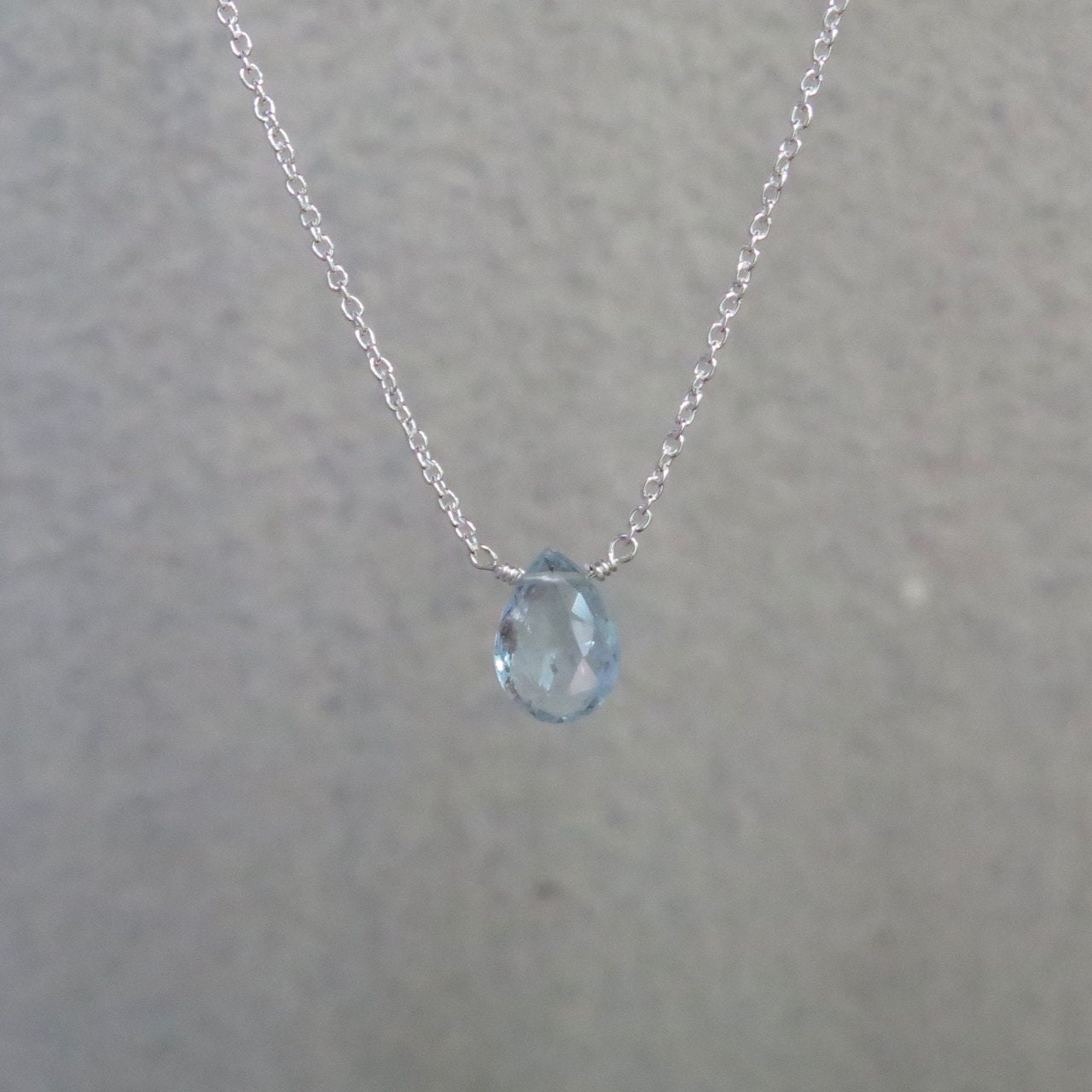 sterling silver or gold filled tiny aquamarine aquamarine pear March birthstone necklace Aquamarine necklace natural aquamarine