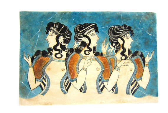 minoan blue ladies fresco painting from crete knossos palace etsy