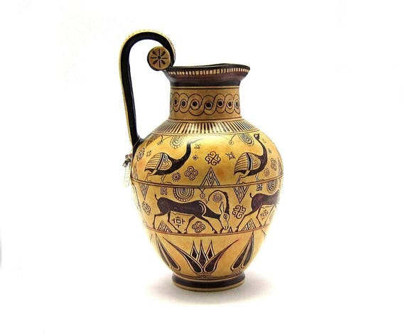 Greek Vase Greek Rhodian Geometrical Hydria Reproduction Etsy