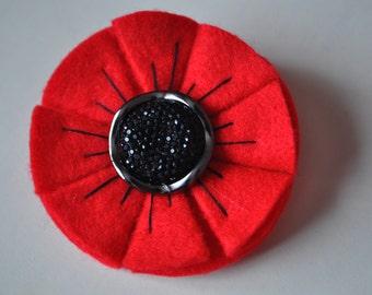 Felt poppy etsy felt poppy flower brooch remembrance day poppy mightylinksfo
