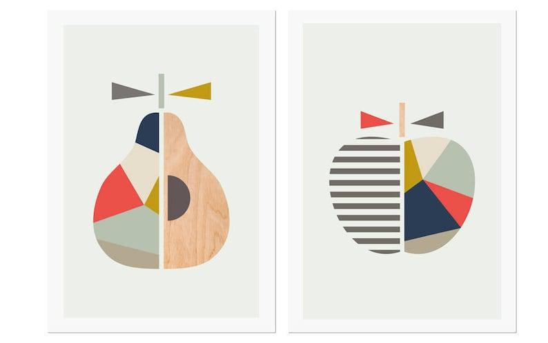 Apple Pear printsNavy & CoralSeries of image 0