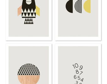 Rocket Kids Wall Art prints, series of four. Boys room art, kids art, nursery art, nursery decor, scandinavian, modern kids art.
