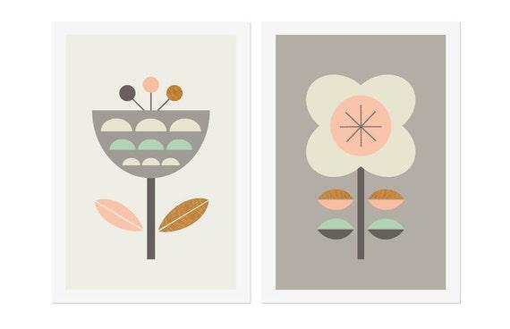 Skandinavische Blumen Grau Rosa Und Minze Serie Von Zwei Etsy