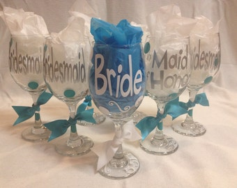 6 Bridal Party Wine Glasses