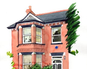 House portrait - an original watercolour painting of your home.