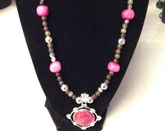 Aqua Terra Jasper Pink Pendant Necklace with Agate Beads