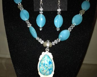 Aqua Terra Jasper Blue Pendant with Crystals and Gemstone Beads Necklace