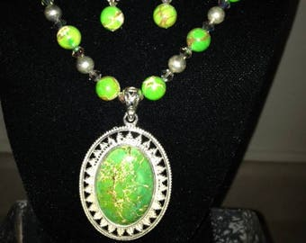 Aqua Terra Jasper Green Beige Pendant with Crystal and Stone Beads Necklace