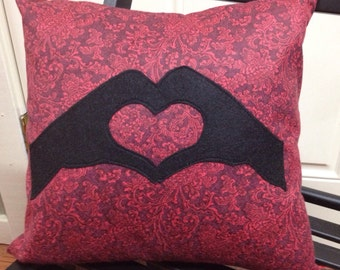 Hand Heart Decorative Pillow - 14x14 - includes insert